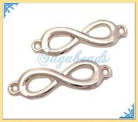 4 Curved Champagne Gold Infinity Connector charms 29mm