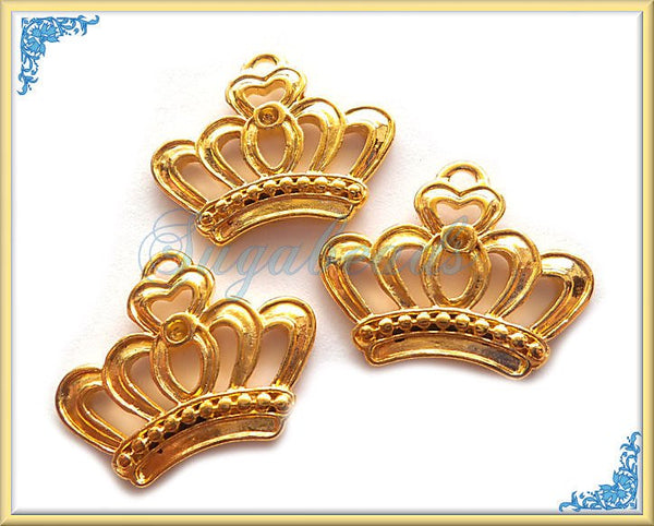 4 Bright Gold Tone Crown Charms - Crown Pendants 22mm