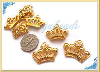 4 Bright Gold Tone Crown Charms - Crown Pendants 22mm - sugabeads