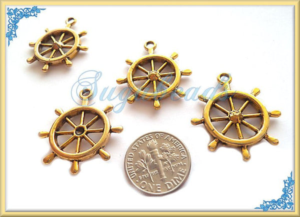 5 Antiqued Gold Ship Wheel or Helm Charm or Pendant 28mm