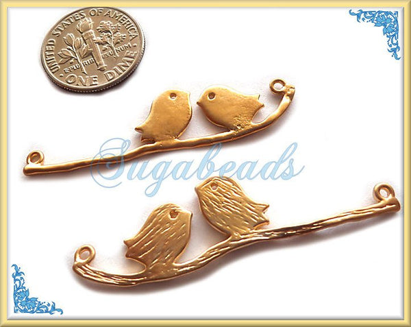 2 Matte Gold Love Birds on a Branch Connectors or Pendants