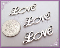 8 Antiqued Silver Love Connectors 33mm