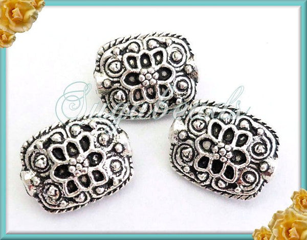 10 Antiqued Silver Rectangle Beads Lotus Flower 13mm