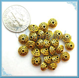 48 Antiqued Gold Saucer Beads, Gold Tone Bicone Spacers, Gold Spacer Beads 6mm x 4mm