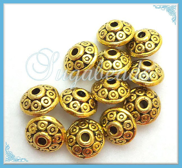 48 Antiqued Gold Saucer Beads, Gold Tone Bicone Spacers, Gold Spacer Beads 6mm x 4mm - sugabeads