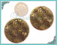 3 Stamped Love Pendants - Antiqued Brass Round Love Pendants 32mm PB36