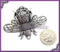Large Antiqued Silver Filigree Bee Pendant, 40mm x 51mm, Large Bee, Silver Bee, Bee Pendant, PS133