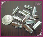 40 Bright Silver Cord Crimps 16mm