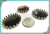 6 Gunmetal Round Tray, Crown Lace Setting, Fits 25mm - Gunmetal Cabochon Setting
