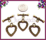 4 Antiqued Brass Dotted Heart Toggles - sugabeads
