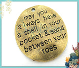 Bulk Buy: 9 Antiqued Message Brass Pendants: A Shell in your Pocket and Sand Between Your Toes PB86