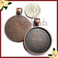 3 Antiqued Copper Trays, 1 inch Cabochon Setting Fits 25mm, Copper Cabochon Tray, Round Cab Tray