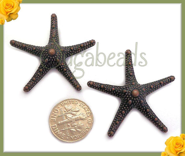 4 Antiqued Copper Starfish Pendants 36mm, Ocean Pendants, Seaside Pendants