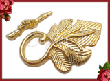 4 Bright Gold Leaf Toggles, Grape Leaf Clasps 37mm