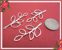8 Bright Silver Branch Connectors - Silver Leaf Connectors 38mm - sugabeads