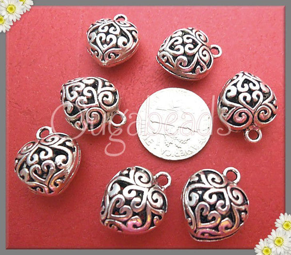 8 Silver Heart Charms, Filigree Hearts 16mm, Puff Filigree Heart, PS37