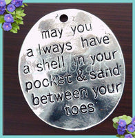 3 Pendants Shell in your Pocket and Sand between your Toes Antiqued Silver, Oval Beach Charms, PS2