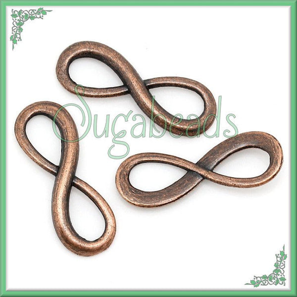 12 Antiqued Copper Forever Infinity Connector charms 23mm