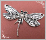 3 Antiqued Silver Dragonfly Pendants