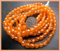 30 Faceted Czech Beads Orange Hyacinth, Fire Polished Beads 6mm, Orange Czech Glass Beads CZN49