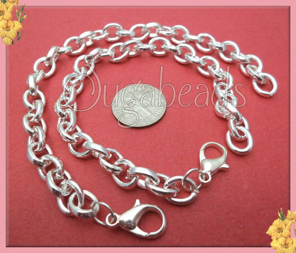 4 Bright Silver Charm Bracelet Chains - Blank Bracelets 7.5 inches, CBSP9