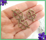 10 Antiqued Brass Four Leaf Clover Charms, Shamrocks Charms 23mm, PB73