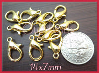 20 Bright Gold Tone Lobster Clasps 14mm x 7mm