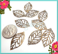 20 Small Filigree Leaf Charms, Antiqued Brass Leaves 24mm x 13mm, Filgree Leaves, Thin Leaves, PB14