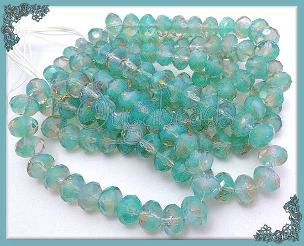 24 Firepolished Sea Foam Green Faceted Czech Glass Rondelle 6x9mm