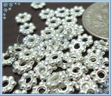 100 Bright Silver Plated Daisy Spacers 4mm DS4