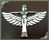 3 Large Winged Egyptian Goddess Pendants, Antiqued Silver Egyptian Goddess Pendant, 56mm, PS15