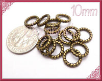 50 - Antiqued Brass  Twisted Jump Rings Closed 10mm JRT4