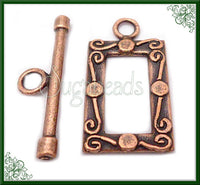 4 Antiqued Copper Toggles, Scroll Design Toggles, Copper Toggles, Rectangle Toggles
