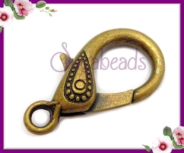 4 Large Decorative Clasps, Antiqued Brass Lobster Clasp, 31mm Bronze Clasps
