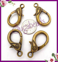4 Large Decorative Clasps, Antiqued Brass Lobster Clasp, 31mm Bronze Clasps - sugabeads