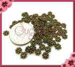 100 Antiqued Brass Daisy Spacers, 4mm Daisy Spacers, DS7