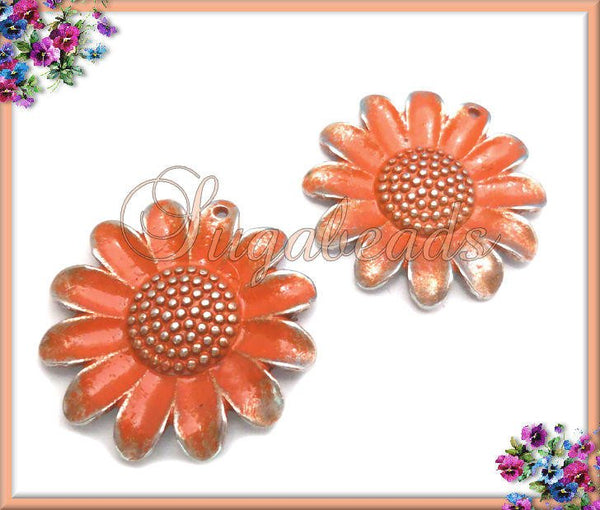4 Orange and Silver Flower Charms, Painted Orange Silver Sunflower Charms 26mm PS100