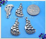 12 Silver Sail Boat Charms - Antiqued Silver Schooner 22mm PS95