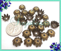 50 Antiqued Brass Star Flower Bead Caps 10x4mm