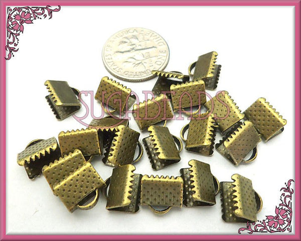 50 Antiqued Brass Crimp Ends 8mm, Ribbon Crimps