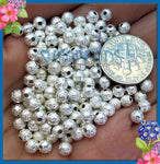 100 Bright Silver Stardust Beads 4mm, Silver Plated Copper Stardust Beads