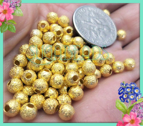 100 Round Stardust Beads, Bright Gold over Copper Stardust Beads 4mm