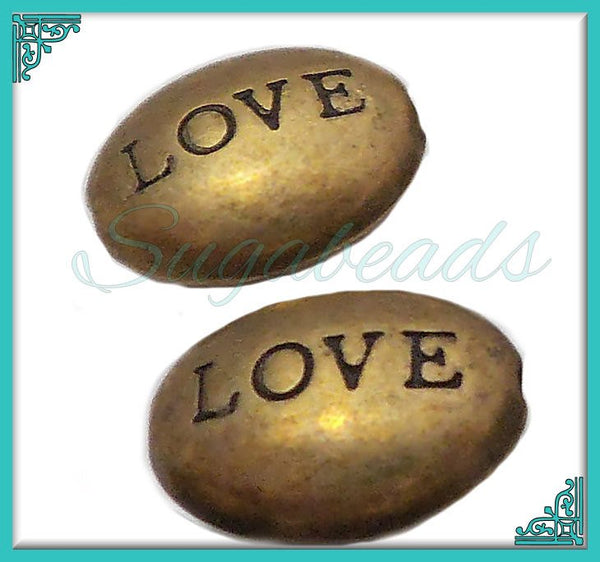 6 Antiqued Brass Love Beads - Oval Stamped Love Beads 12mm