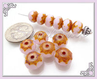 12 Fire Polish Rose Pink Rondelle Beads 9mm x 6mm CZN70