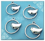 10 Silver Bird Charms 22mm PS135