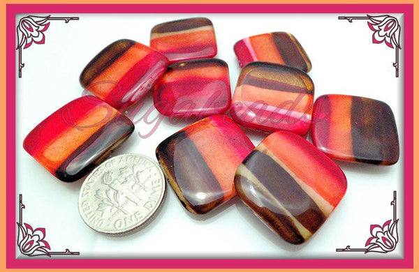 10 Square Shell Beads in Brown, Red, Orange 20mm