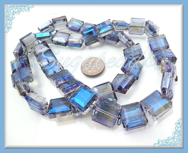 Blue Faceted Crystals Square Beads 13mm