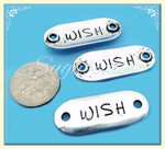 3 Silver Wish Charms, Wish Focals, Silver Wish Pendants, Silver Message Charms, Oval Connector
