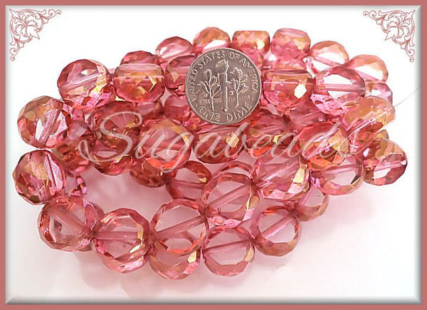 8 Orchid Pink Coin Beads w Picasso Finish, Table Cut Faceted 12mm, Czech Glass Beads CZN65