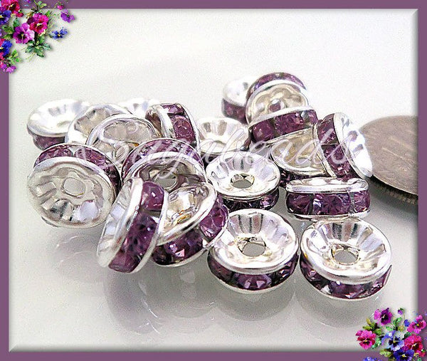 30 Silver Crystal Rondelles, Rondelle Spacers, Purple Rhinestone Rondelles, 8mm Silver Rondelles